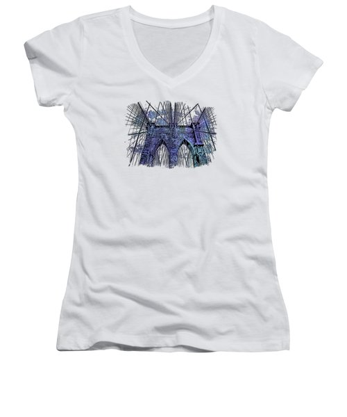 Brooklyn Bridge Berry Blues 3 Dimensional Women's V-Neck (Athletic Fit)