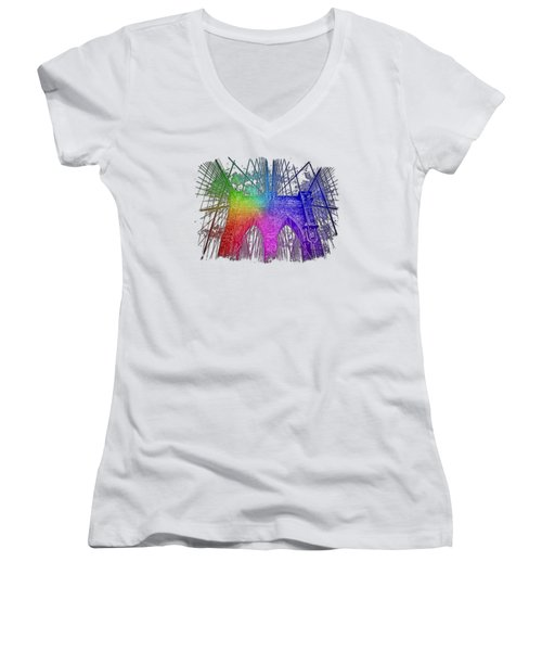 Brooklyn Bridge Cool Rainbow 3 Dimensional Women's V-Neck T-Shirt (Junior Cut) by Di Designs