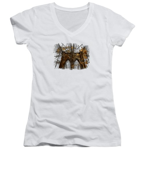 Brooklyn Bridge Earthy 3 Dimensional Women's V-Neck T-Shirt (Junior Cut) by Di Designs