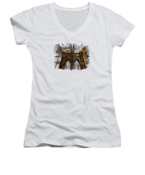 Brooklyn Bridge Earthy 3 Dimensional Women's V-Neck T-Shirt (Junior Cut)