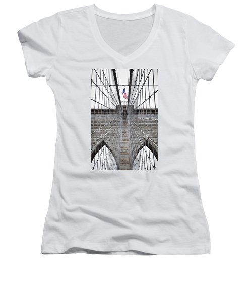 Brooklyn Bridge Flag Women's V-Neck (Athletic Fit)