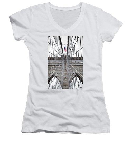 Brooklyn Bridge Flag Women's V-Neck T-Shirt