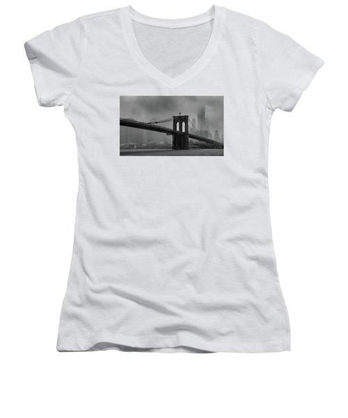 Brooklyn Bridge In A Storm 2 Women's V-Neck