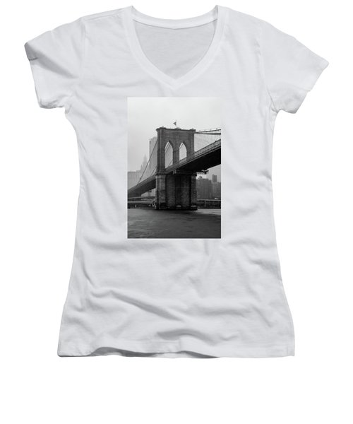 Brooklyn Bridge In A Storm Women's V-Neck
