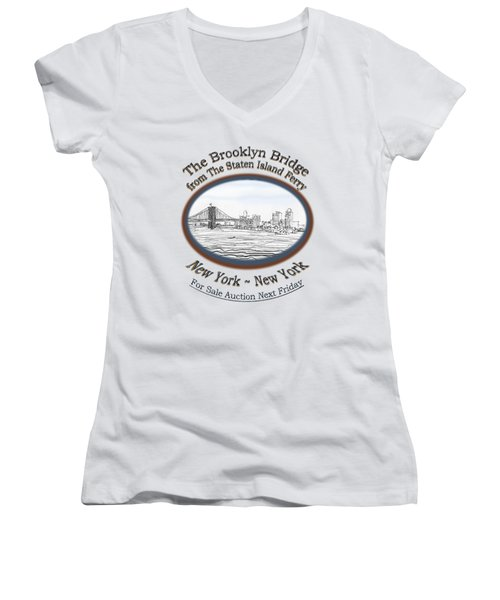 Brooklyn Bridge Women's V-Neck T-Shirt (Junior Cut) by James Lewis Hamilton
