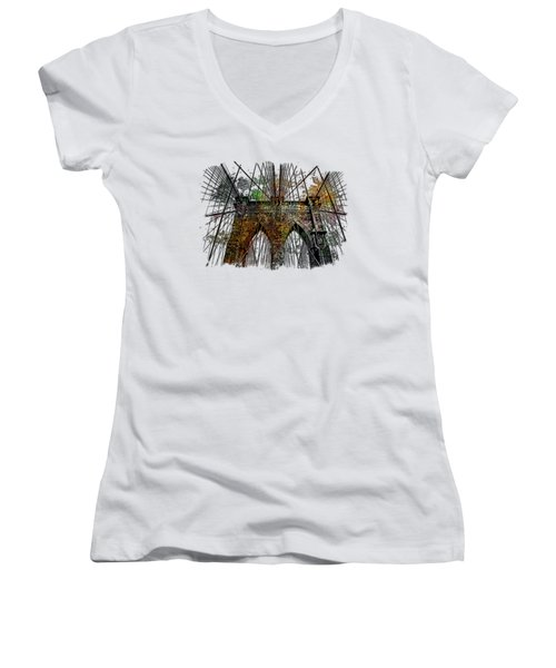 Brooklyn Bridge Muted Rainbow 3 Dimensional Women's V-Neck T-Shirt (Junior Cut) by Di Designs