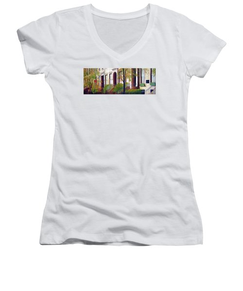 Brooklyn Brownstone Corridor 2 Women's V-Neck T-Shirt