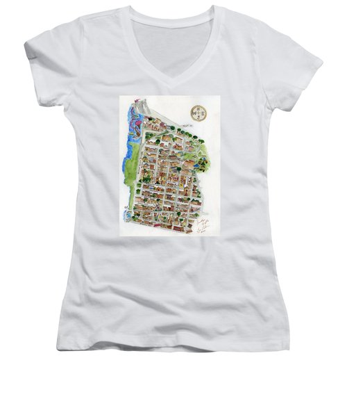 Brooklyn Heights Map Women's V-Neck (Athletic Fit)