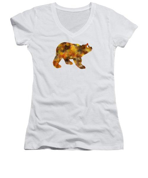 Brown Bear Silhouette Women's V-Neck T-Shirt (Junior Cut) by Christina Rollo