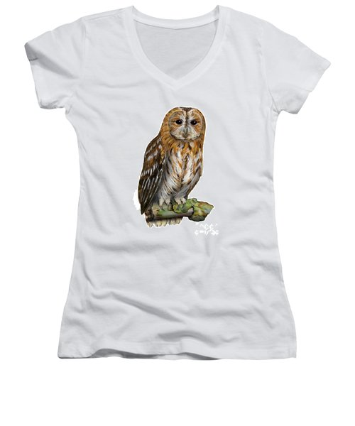 Brown Owl Or Eurasian Tawny Owl  Strix Aluco - Chouette Hulotte - Carabo Comun -  Nationalpark Eifel Women's V-Neck