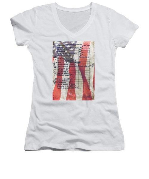 Bruce Springsteen Setlist At Rock In Rio Lisboa 2012 Women's V-Neck T-Shirt