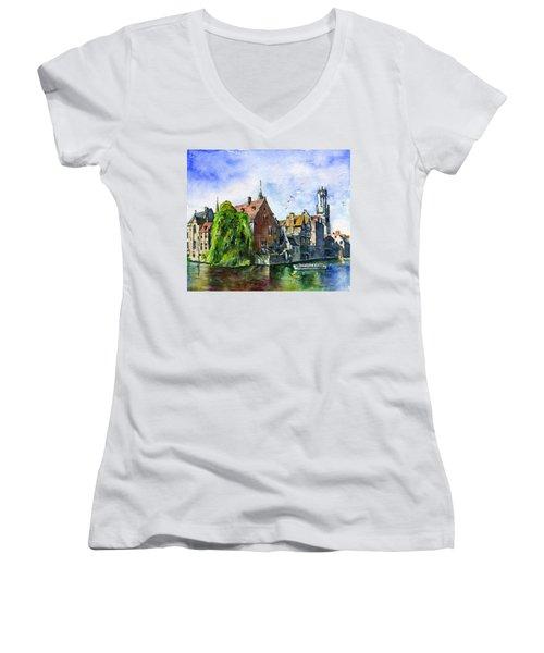 Bruges Belgium Women's V-Neck T-Shirt (Junior Cut) by John D Benson