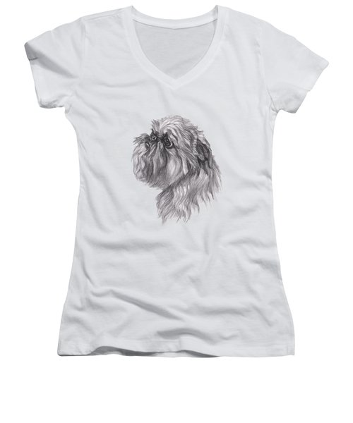 Brussels Griffon Dog Portrait  Drawing Women's V-Neck (Athletic Fit)