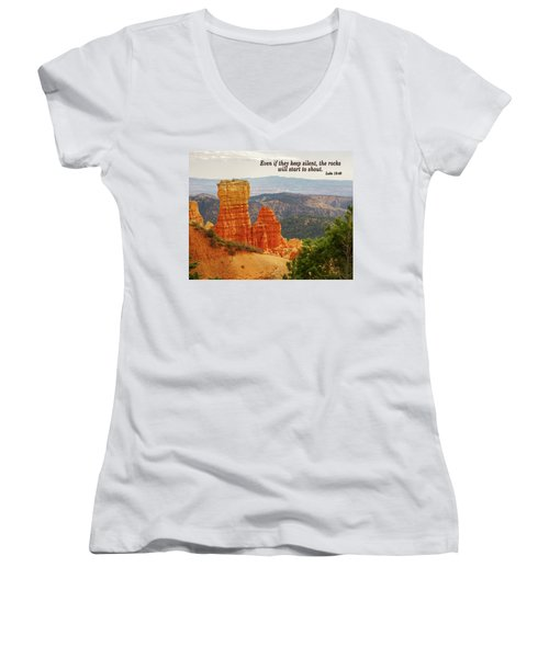 Women's V-Neck T-Shirt (Junior Cut) featuring the photograph Bryce Canyon by Jim Mathis