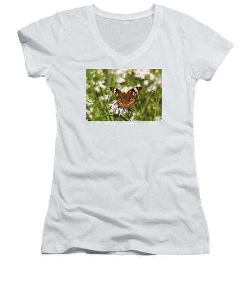 Buckeye Butterfly Posing Women's V-Neck