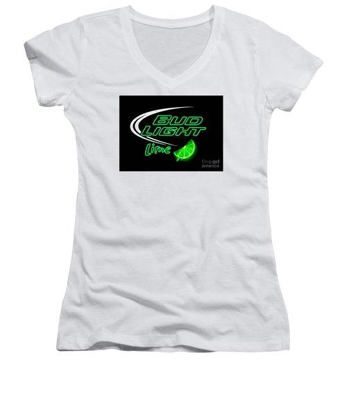 Bud Light Lime Edited Women's V-Neck T-Shirt (Junior Cut)