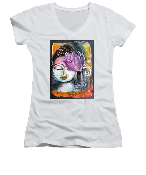 Buddha With Torn Edge Paper Look Women's V-Neck T-Shirt (Junior Cut) by Prerna Poojara