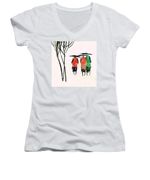 Buddies 3 Women's V-Neck T-Shirt (Junior Cut) by Anil Nene