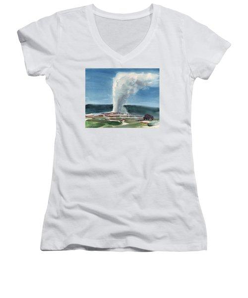 Buffalo And Geyser Women's V-Neck T-Shirt (Junior Cut) by Donald Maier