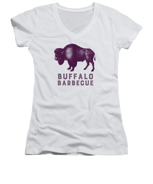 Buffalo Barbecue Women's V-Neck T-Shirt (Junior Cut) by Antique Images