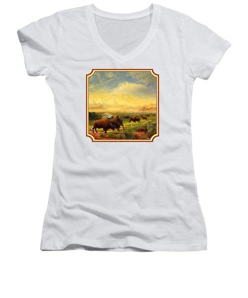 Buffalo Fox Great Plains Western Landscape Oil Painting - Bison - Americana - Square Format Women's V-Neck