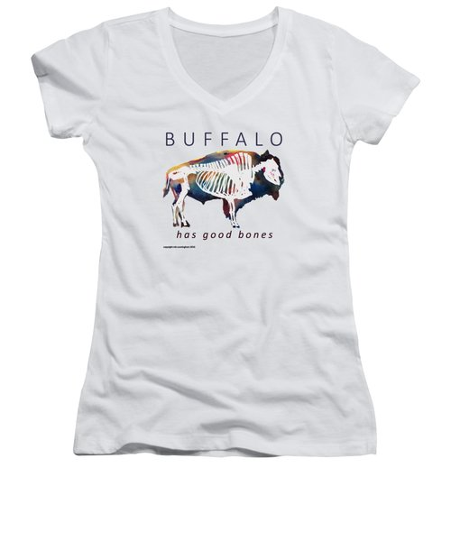 Buffalo Has Good Bones Women's V-Neck T-Shirt (Junior Cut) by Marybeth Cunningham