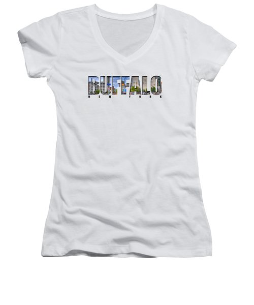 Buffalo Ny Entering Downtown Women's V-Neck T-Shirt (Junior Cut) by Michael Frank Jr
