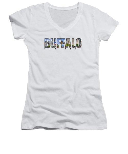 Buffalo Ny Entering Downtown Women's V-Neck T-Shirt