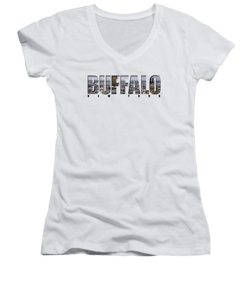 Buffalo Ny Snowy Cityscape Women's V-Neck T-Shirt (Junior Cut) by Michael Frank Jr