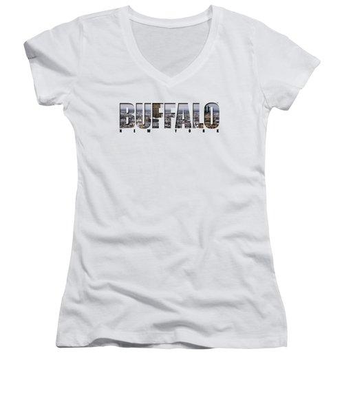 Buffalo Ny Snowy Cityscape Women's V-Neck T-Shirt