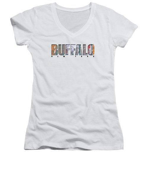 Buffalo Ny Snowy Downtown Women's V-Neck T-Shirt (Junior Cut) by Michael Frank Jr