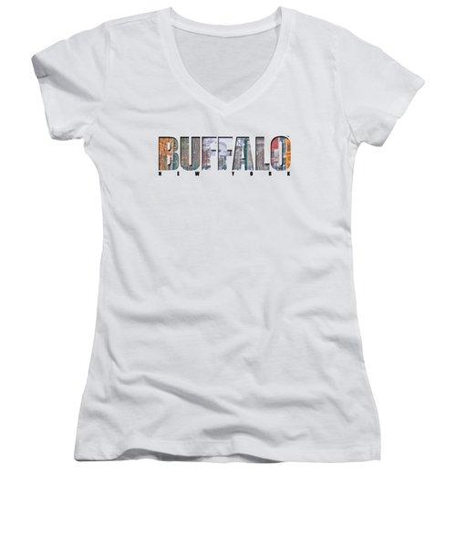 Buffalo Ny Snowy Downtown Women's V-Neck (Athletic Fit)