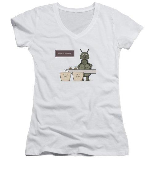 Bug As A Inspector Of Quality Women's V-Neck T-Shirt