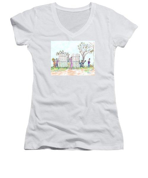 Building The Sukkot Women's V-Neck T-Shirt