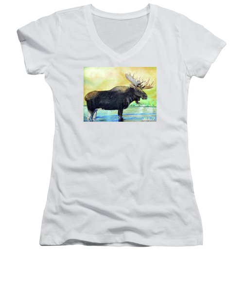 Bull Moose In Mid Stream Women's V-Neck T-Shirt (Junior Cut) by Sherril Porter