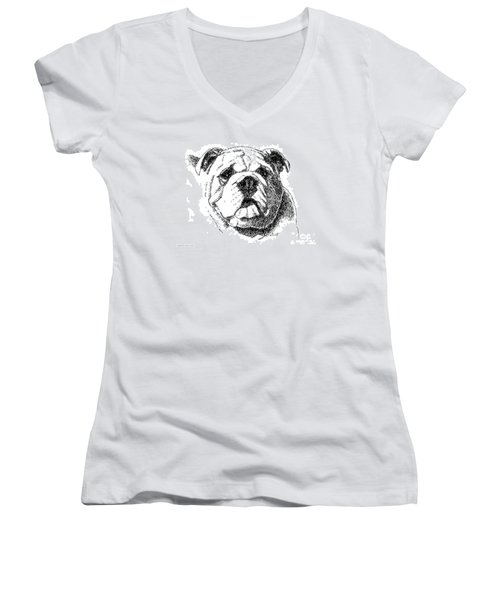 Bulldog-portrait-drawing Women's V-Neck