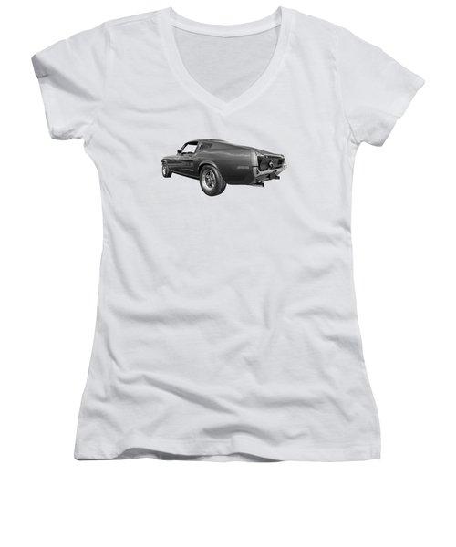 Bullitt Mustang 1968 In Black And White Women's V-Neck T-Shirt (Junior Cut) by Gill Billington