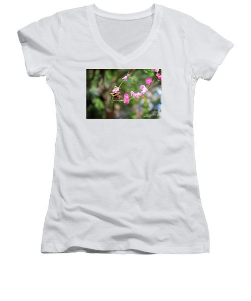 Women's V-Neck T-Shirt featuring the photograph Bumble Bee1 by Megan Dirsa-DuBois