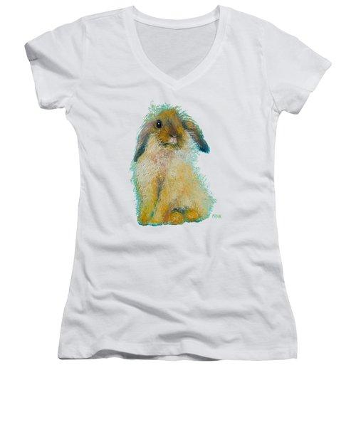 Bunny Rabbit Painting Women's V-Neck T-Shirt (Junior Cut) by Jan Matson