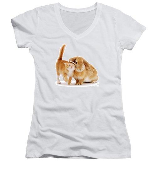 Bunny Rubbing Women's V-Neck T-Shirt