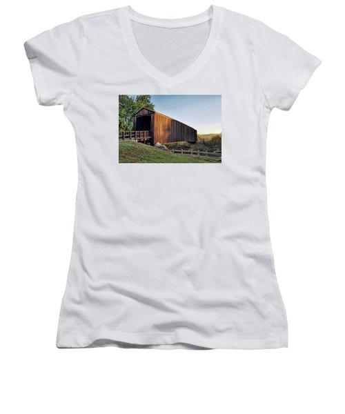 Women's V-Neck T-Shirt (Junior Cut) featuring the photograph Burfordville Covered Bridge by Cricket Hackmann