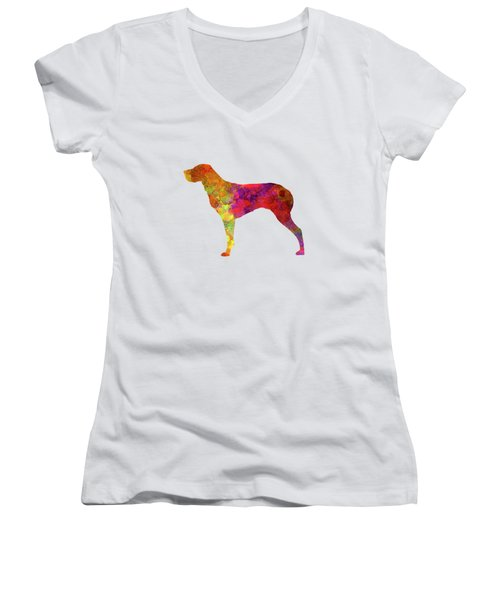 Burgos Pointer In Watercolor Women's V-Neck T-Shirt (Junior Cut) by Pablo Romero