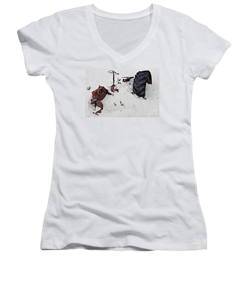 Women's V-Neck T-Shirt (Junior Cut) featuring the photograph Buried Up To The Wheels by Stephen Mitchell
