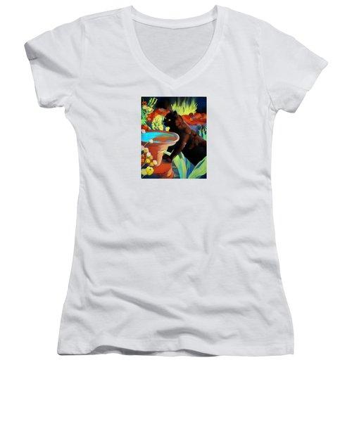 Burmese Afternoon Women's V-Neck T-Shirt (Junior Cut) by Marika Evanson