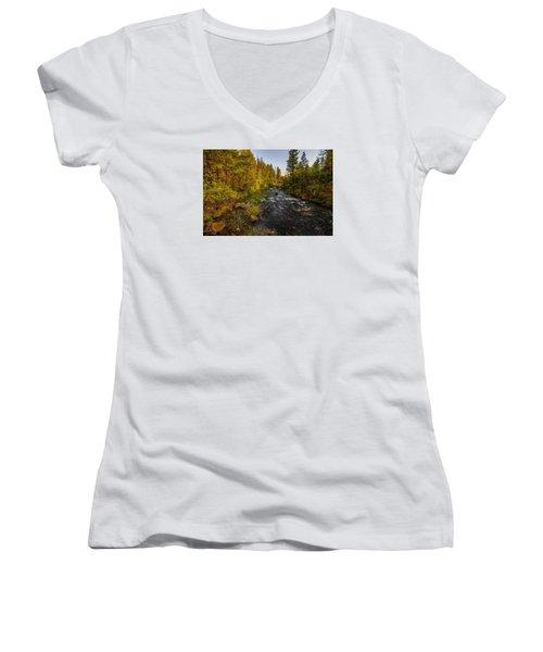 Burney Falls Hdr Women's V-Neck T-Shirt