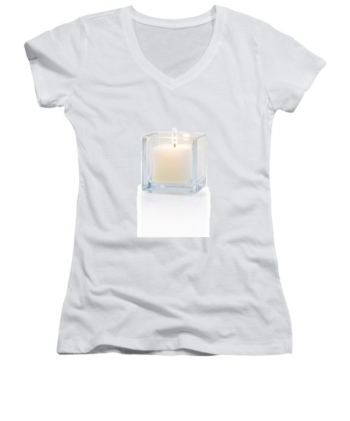 Burning Candle Side View 20 Degree Women's V-Neck (Athletic Fit)