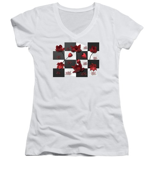 Burnt Crimson Flora Women's V-Neck