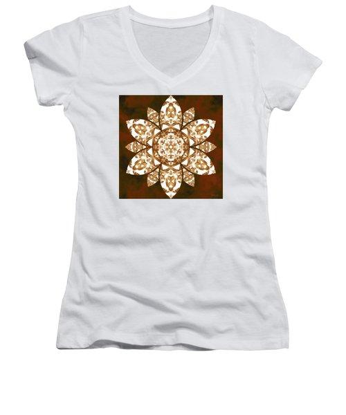 Women's V-Neck T-Shirt featuring the digital art Burnt Geomatrix by Derek Gedney