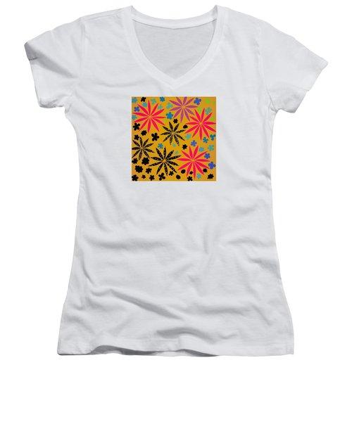 Women's V-Neck T-Shirt (Junior Cut) featuring the mixed media Bursting Open by Gloria Rothrock