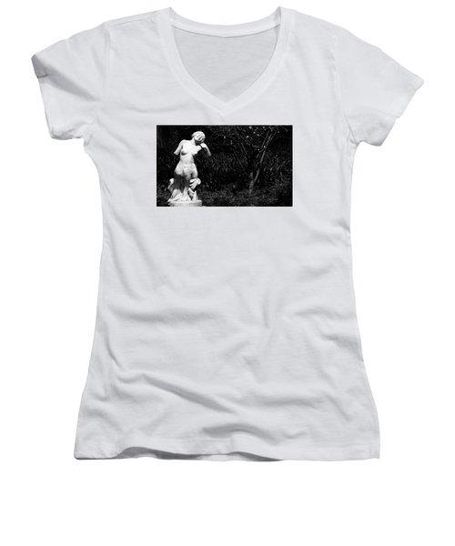 But Still Smiling Women's V-Neck T-Shirt (Junior Cut) by Lorraine Devon Wilke